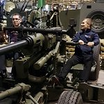 2 of our leaders having a go on the anti aircraft gun