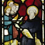 Stained glass panel of St Bede