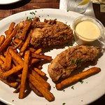 Calabash chicken tenders with honey mustard sauce