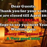 Dear guests; Conny's is closed till april 2019. Thank you so much and we hope to see you next ye