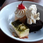 Cheesecake, pavlova, & chocolate log.