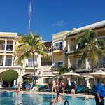 The pool is on the small side but full of activities and fun! We were there in late November, not at capacity, so there were plenty of chairs to choose from and you can see the beach and ocean from the pool! Outstanding service.