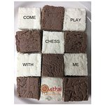 A chessboard of coffee chocolate and plain white sandesh!