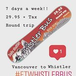 Book now!!! http://easytripsvancouver.com/mountain-shuttle/  Round Trip - 29.95 + Tax  Vancouver <- to > Whistler Whistler < to -> Vancouver