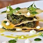 Spinach pie, goat cheese, feta cheese, fresh herbs