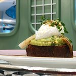 French toast with poached egg and avocado