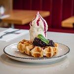 Warm waffles, yummy!