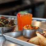 Pimiento beer cheese, crispy brussels sprouts