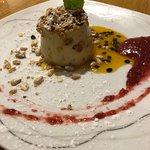 Pumpkin Pannacotta with almond crumble, pine nut & salted caramel