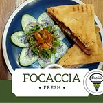 Home made Italian Original Focaccia. You choose how to fill it: Mozzarella, Scamorza or Provolone cheese and/or Prosciutto, Salami Toscano or Salami Calabrese. Served with salad!!!