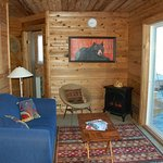 Cozy living rooms in our cabins.