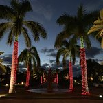 front of the hotel dressed for christmas