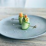 Cucumber Feta Carrot Avocado Roll Canape