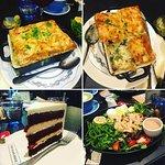 chicken pot pie, cake and salad