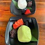 Vanilla ice cream and green tea ice cream