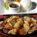 Squid sizzled with rice