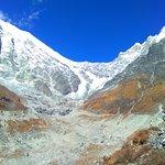 View of Langtang Glacier (near Lantang Liru 1) and Langtang Base Camp (behind).