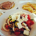Greek salad with traditional products