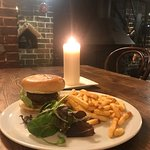 The Onslow Burger, freshly prepared with beef from our local butcher served in a brioche bun, cheese, bacon, salad and choice of sweet potato, skinny or chunky chips