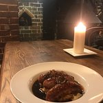 Pork and leak sausages from our local butcher, freshly prepared mash potato served with a red onion gravy
