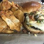 Baja Burger with homemade potato chips