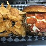 Pizza Burger with homemade chips