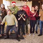 Team building group air pistol, knife and axe throwing event