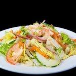Tarin Salad~  Green Salad Topped with Shrimp & House Peanut Sauce Dressing