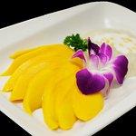 Exotic Dessert!  Fresh, Sliced Mango with Creamy, Sweet Sticky Rice