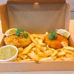 Excelsior meal deal 2 home made fish cakes, battered or breadcrumbs , large chips and a side . £5.00