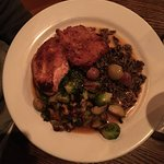 Crispy Boneless Chicken, w wild rice and grilled brussel sprouts, all quite good