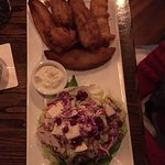 Fish and Chips, w good and ample slaw and dry potato wedges