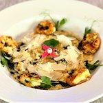 Shrimps risotto with Parmesan shavings