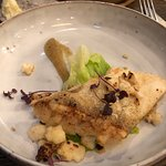 White Fish perfectly cooked, Roasted Cauliflower, Pear Puree