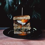 The Tower Sandwich with Bacon, Sausage and Organic Cacklebean Egg at Battersea Market Café 巴特西