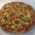 Earthquake - Topped with Extra Pepperoni, Onions, Green Peppers & Jalapenos on a Hot Chilli base