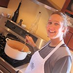 Marianne making the chicken curry.