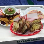 Guacamole and proscuitto with papaya