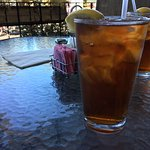 Porch table with Iced Tea