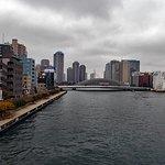 隅田川大橋の上から眺めた工事中の永代橋