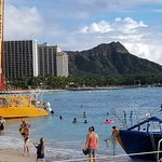 The beach area of Outrigger Waikiki Beach Resort