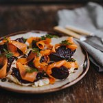 Homemade yoghurt labenah served with roasted beetroot and pickled carrots. A River Cottage classic.