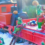 Christmas Elves on the Soar Valley Garden Railway on the Nottinghamshire/Leicestershire Border. Sutton Bonington