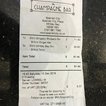 The bill we received 4 very ordinary Gins