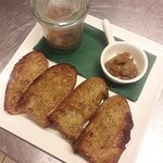Patè locanda with caramelized shallots and toasted bread