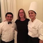 with waiter Roger and Chef Stefany at Le Petit Plaisir