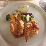 Lobster Tail and a small piece of Chilean Sea Bass at Seaside Restaurant