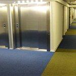 les couloirs et les ascenseurs qui mènent aux chambres