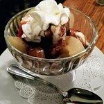 Sliced chocolate pears with ice cream!