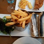 rollmops and chips and salad (and edge of fish and chips just at top)
